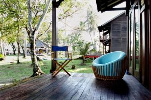 Rumah Biru porch with Rumah Merah in the background